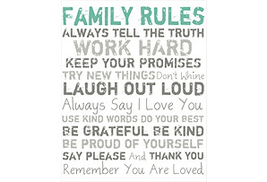 Family Rules Giclée on Canvas Blue
