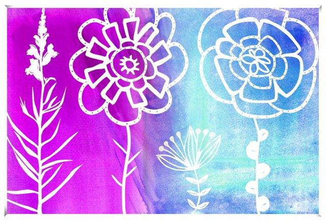 Purple & Blue Flowers Print