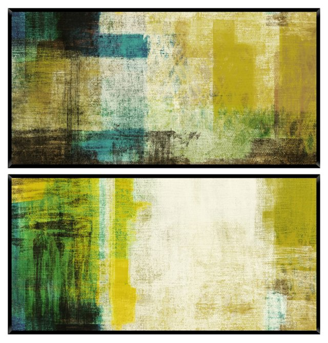 Green Abstract Mini Diptych