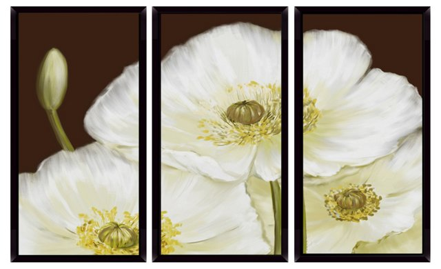 Christina Lim, White Poppy Mini Triptych