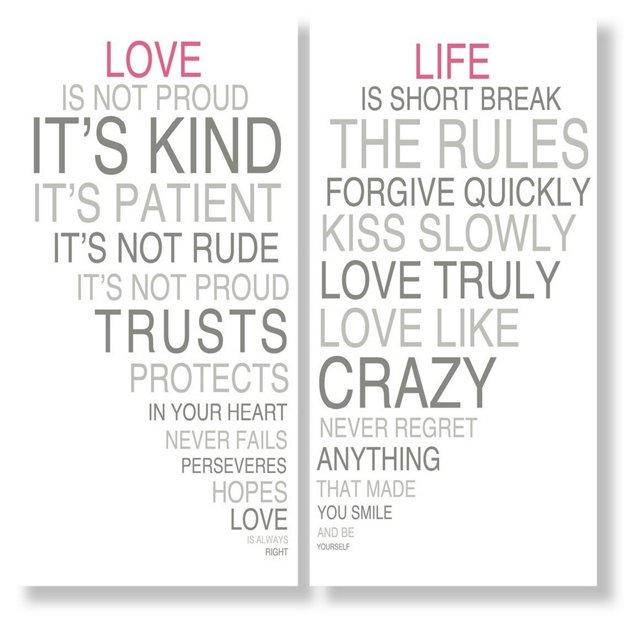 Love Is & Life is II, Set of Two Prints