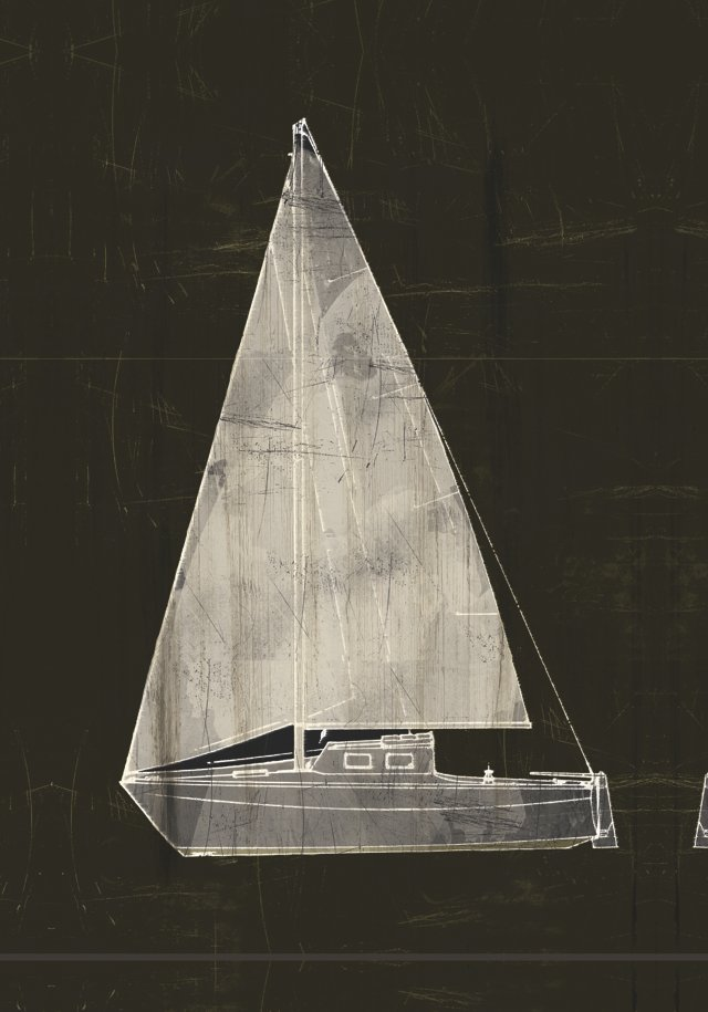 Black and White Sailboat Canvas
