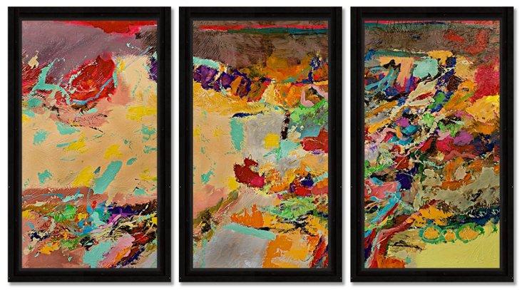 Alan Freidlander, Warm Abstract Triptych