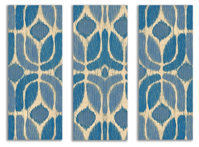 Blue and Beige Triptych