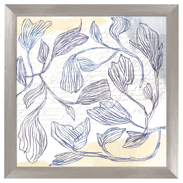 Blue Drawn Flowers