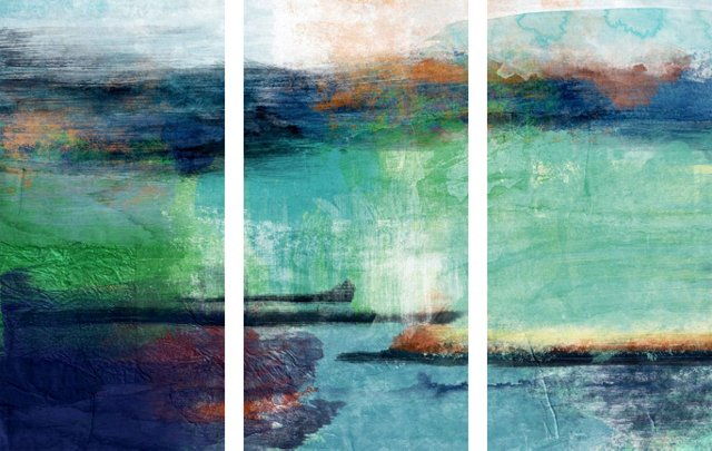 Blue and Green Abstract Triptych