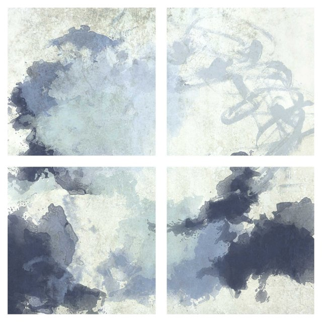 Blue Watercolor Abstract Quadriptych