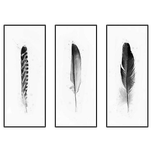 Black and White Feathers Triptych