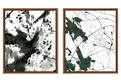 Emerald Abstract Ink Blot