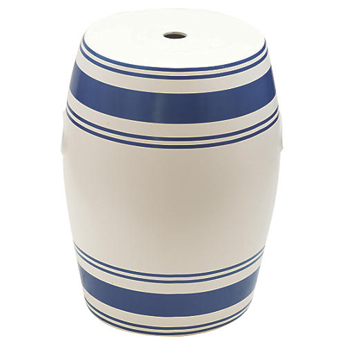 Renley Garden Stool, Navy/White