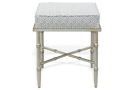 Arietta Silver Stool, White/Gray