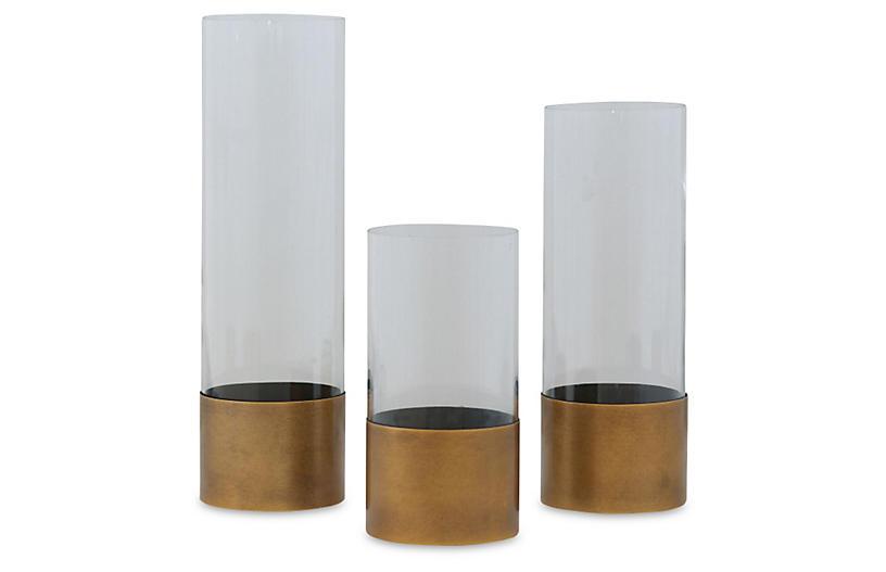 S/3 Evanston Vases, Clear