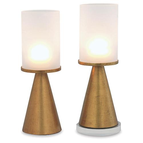 """S/2 19"""" Camden Glass Candleholders, Gold"""