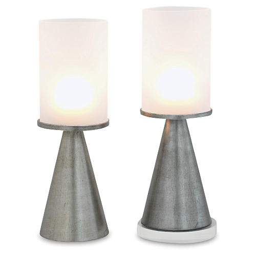 "S/2 19"" Camden Glass Candleholders, Silver"