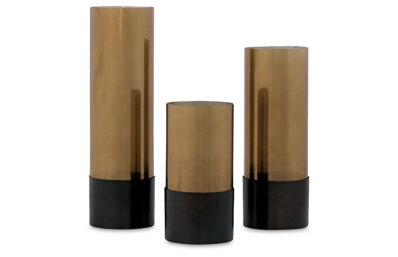 S/3 Evanston Vases, Gold