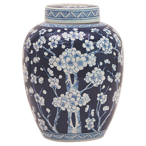 "14"" Sakura Jar, Blue/White"