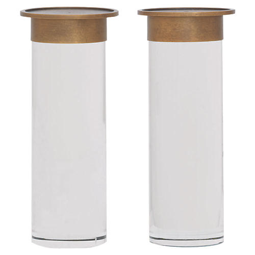 S/2 Addison Candleholders, Brass