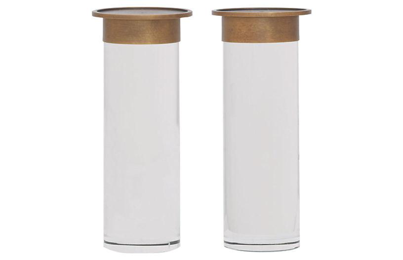 S/2 Addison Candleholders, Brass