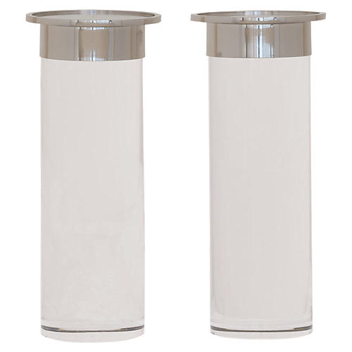 S/2 Addison Candleholders, Nickel