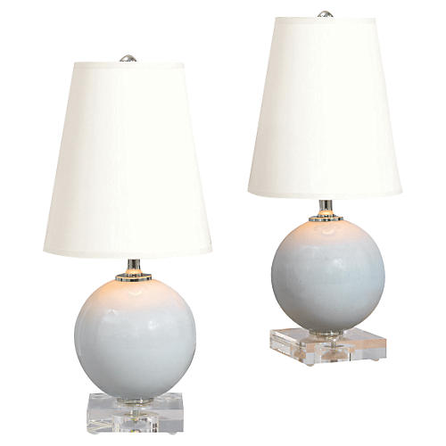 S/2 Katie Mini Ball Table Lamps, Smoke