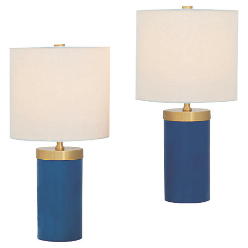 S/2 Marty Table Lamps, Turquoise