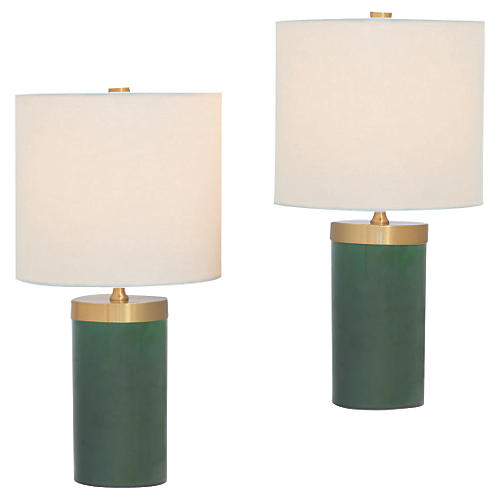 S/2 Marty Table Lamps, Emerald