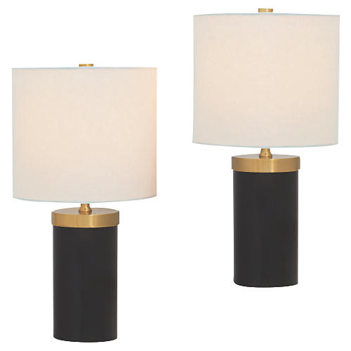 S/2 Marty Table Lamps, Black