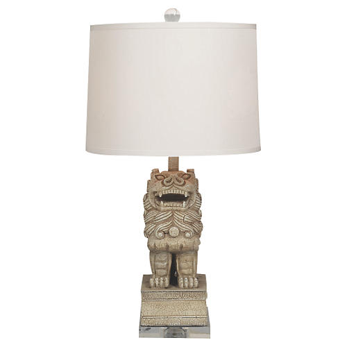Chow Table Lamp, Distressed Cream