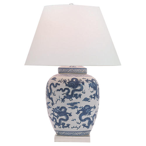 Dragon Table Lamp, Blue