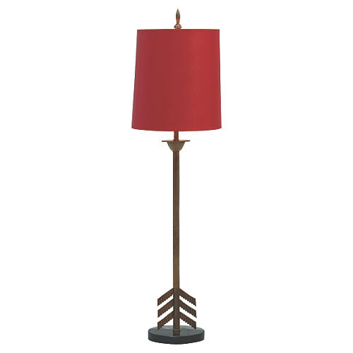Franco Buffet Table Lamp, Red