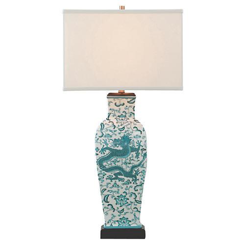 Scalamandre Chi'en Table Lamp, Blue