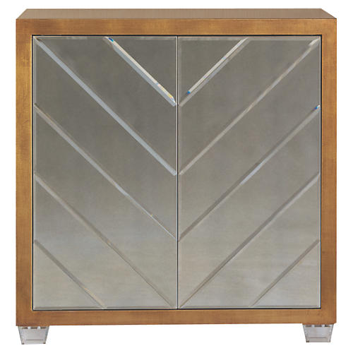 Delray Mirrored Cabinet, Gold Leaf