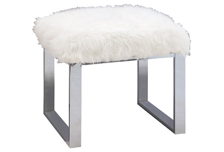 Dylan Single Fur Bench, White