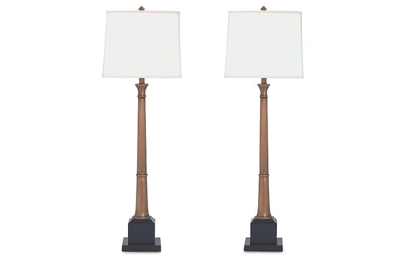 S/2 Kensington Buffet Lamp, Brass/Black