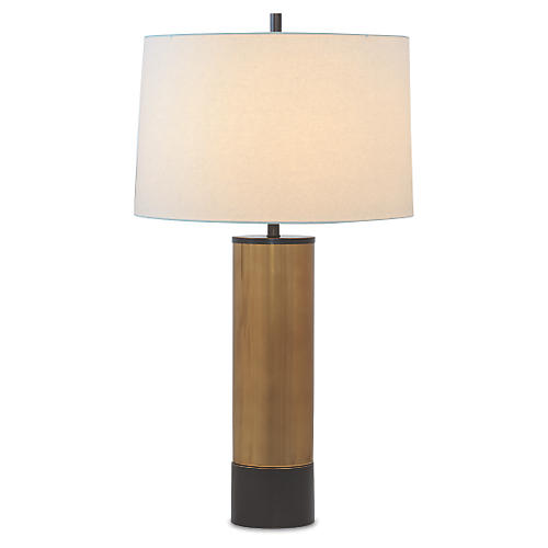 Evanston Table Lamp, Bronze cylinder