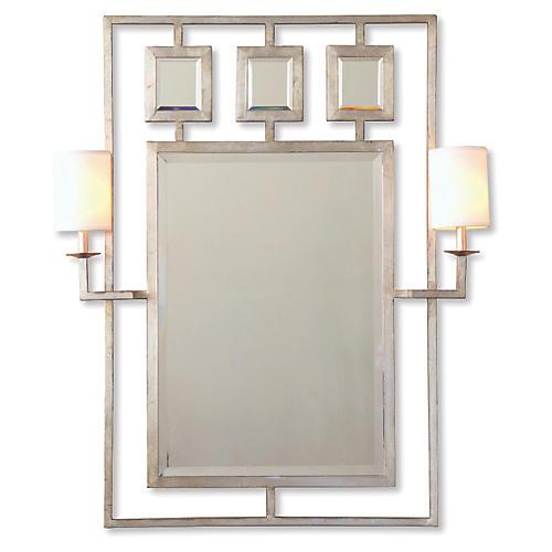 "Avenue 38""x46"" Sconces Wall Mirror, Silver"
