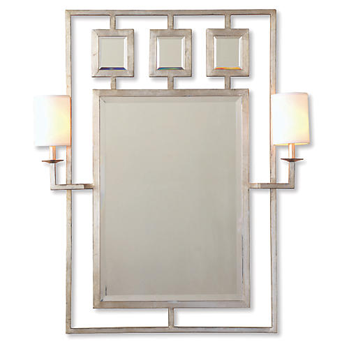 "Avenue 38""x46"" Sconces Wall Mirror, Silver"