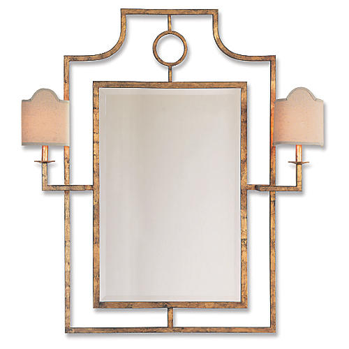 "Doheny 38""x46"" Sconces Wall Mirror, Gold"