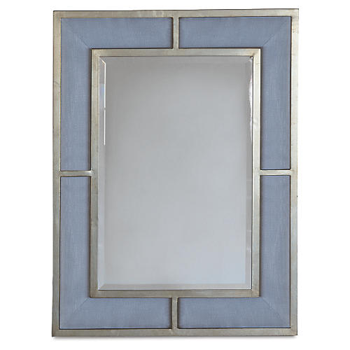 Bedford Wall Mirror, Blue/Silver