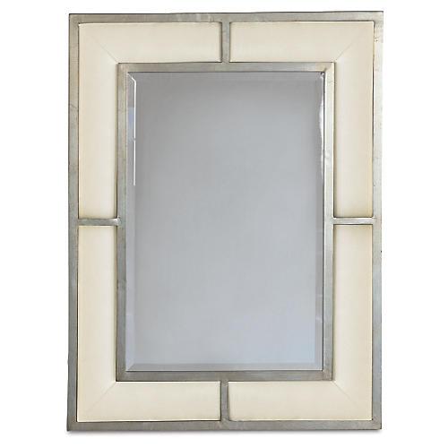 "Bedford 32""x42"" Wall Mirror, Sand/Silver"