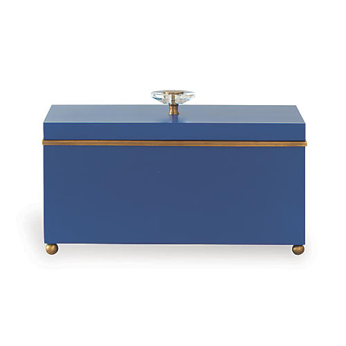 "15"" Naples Box, Blue/Brass"