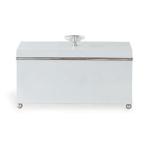 "15"" Naples Box, White/Silver"