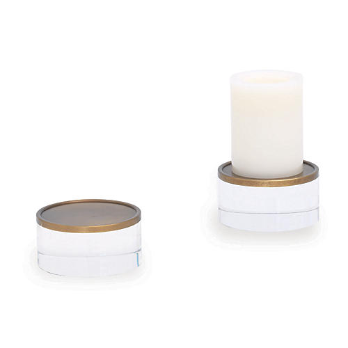 S/2 Mod Candleholders, Gold/Clear