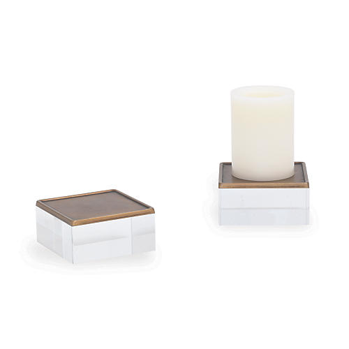 S/2 Mod Square Candleholders, White
