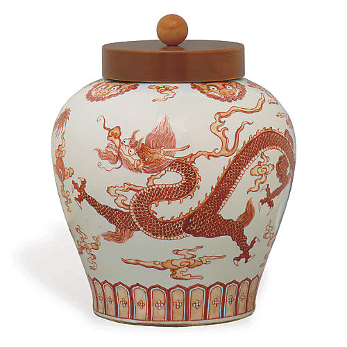 "15"" Dragon Jar, Red/White"