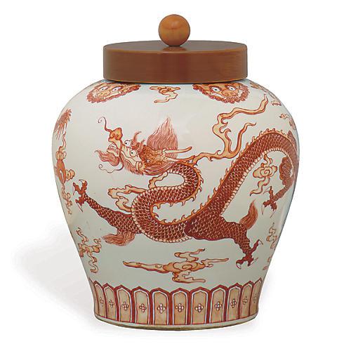 """15"""" Dragon Jar, Red/White"""