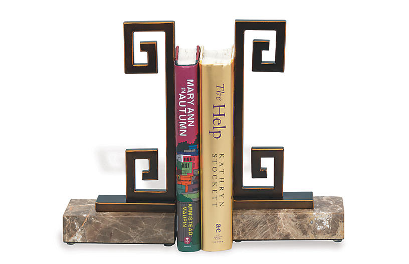 S/2 Mizner Marble Bookends, Bronze