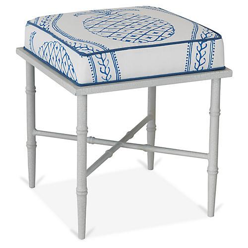 Doheny Stool, Blue/White Linen