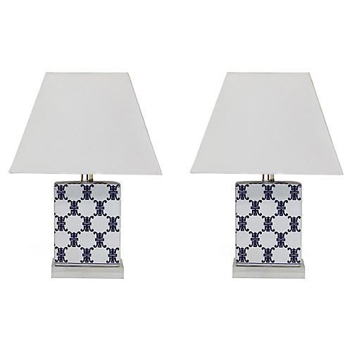 S/2 Longevity Table Lamps, Blue/White