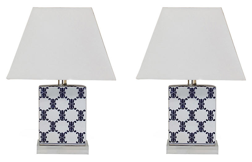 S/2 Longevity Table Lamps, Blue/White